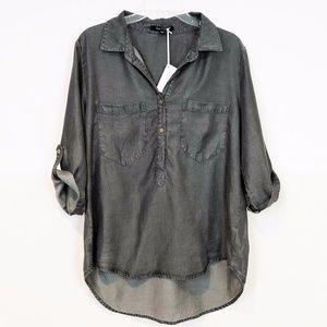 Velvet Heart High Low Chambray Tunic Top Shirt